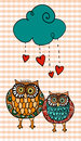 Valentine two owls under love rain Royalty Free Stock Images