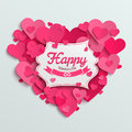 Valentine vector illustration postcard, romantic text on pink paper hearts