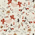 Valentine wallpaper seamless love romantic lovely texture with hearts and angels Royalty Free Stock Photo