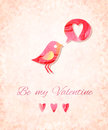 Valentine Watercolor Card With...