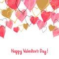 Valentine watercolor heart balloons border Royalty Free Stock Photo