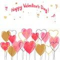 Valentine watercolor hearts balloons border. Royalty Free Stock Photo