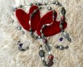 Valentine on a white background with beads Royalty Free Stock Photo