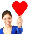 Valentine woman holding heart card / sign Royalty Free Stock Images