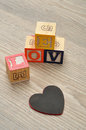 Valentine's Day.Love Spelled with colorful alphabet blocks Royalty Free Stock Photo