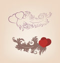 Valentines background heart floral motif ornate vintage Royalty Free Stock Photos