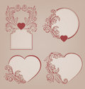 Valentines background heart floral motif ornate vintage Royalty Free Stock Images
