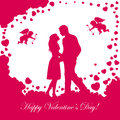 Valentines background with loving couple abstract pink hearts and cupids illustration Stock Image
