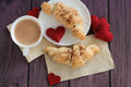 Valentines breakfast with croissants and cocoa Royalty Free Stock Photo