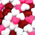 Valentines candy background day of red pink and white hearts Royalty Free Stock Photography