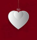 Valentines card background with design heart on a red background Royalty Free Stock Photography