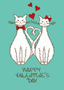 Valentines card with beloved cats couple of cute Stock Images