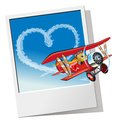 Valentines card with cartoon airplane biplane sending love message available eps vector format separated by groups and layers for Royalty Free Stock Image