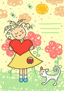 Valentines card with a cute little girl and cat Royalty Free Stock Photos