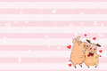 Valentines card with Cute Pigs illustration