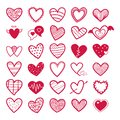 Valentines Collection of Red Heart icons illustration-