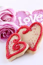 Valentines cookies and roses Royalty Free Stock Photography