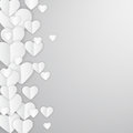 Valentines day abstract background with white paper hearts Royalty Free Stock Photos
