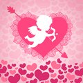 Valentines day angel of love with heart and arrow card or invitation vector illustration Royalty Free Stock Photo