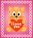 Valentines day background with cat card Royalty Free Stock Image