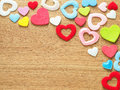 Valentines day background with colorful hearts on wood floor. Love and Valentine concept