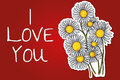 Valentines day background with daisy flowers Royalty Free Stock Image