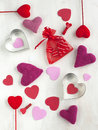 Valentines day background with hearts colorful Stock Images