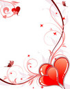 Valentines Day background with hearts and florals Stock Photo