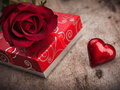Valentines day background with hearts gift and rose Royalty Free Stock Photos