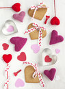 Valentines day background with hearts shaped cookies gingerbread Royalty Free Stock Photos
