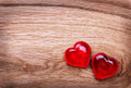 Valentines Day background. Hearts on Wooden Texture