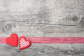 Valentines day background with patterned hearts on old wooden Royalty Free Stock Photo