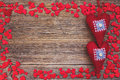 Valentines day background with red hearts toned soft focus copy space Stock Photos