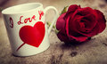 Valentines day background with red roses and cup Royalty Free Stock Images