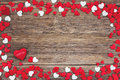 Valentines day background with red and white hearts toned soft focus Stock Photos