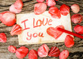Valentines Day background with seashells and message I Love You