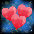 Valentines day background for with three red heart shaped balloons on a blue Royalty Free Stock Images