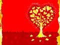 Valentines Day background with tree and hearts Royalty Free Stock Photo
