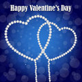 Valentines day background for with two diamond hearts on a blue bokeh Stock Photos
