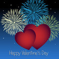 Valentines day background for valentine s with two red hearts and fireworks on a blue sky Royalty Free Stock Photos