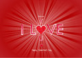 Valentines day background vector of heart and light beam with text because i love you illustration Stock Image