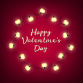 Valentines Day background. Vector retro light sign. Heart shape. Royalty Free Stock Photo