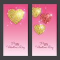 Valentines day backgrounds with gold and red hearts. Royalty Free Stock Photo