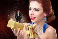 Valentines day beauty young happy girl with golden gift box and elegant man in smoking with flying valentine hearts love concept Royalty Free Stock Images