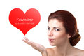 Valentines day beauty young woman with valentine heart love concept Stock Photos