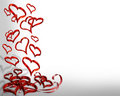 Valentines Day border falling hearts 3D  Stock Images