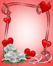 Valentines Day border hearts and flowers Royalty Free Stock Images