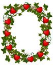 Valentines day Border Ivy Wreath with Hearts Royalty Free Stock Image