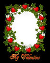 Valentines Day Border Ivy Wreath with Hearts Royalty Free Stock Images
