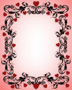Valentines day border ornamental hearts Stock Photos
